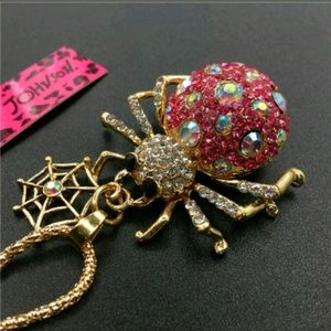 New Betesy Johnson Pink bling spider necklace
